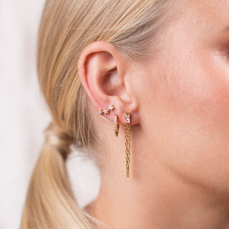 Spike Crystal Huggie Hoop, Zirconia stardust stud earrings in 18k gold plating