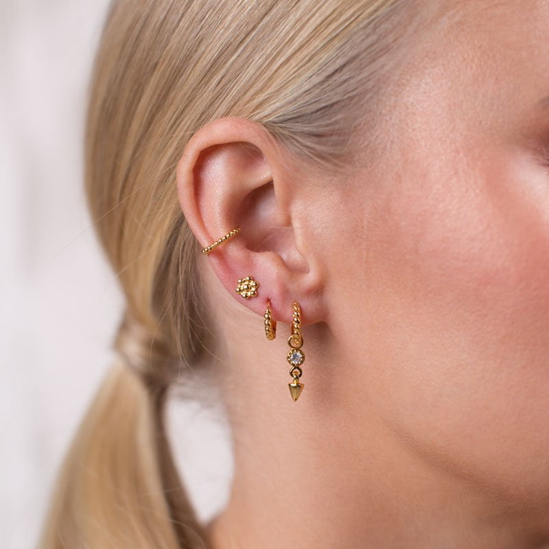 Zirconia gold Ear Cuff, 15mm spike pendant matched with twisted huggie hoop and flower stud earring