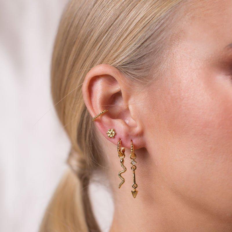 Zirconia gold Ear Cuff, 25mm mix & match spike pendant & beaded flower stud