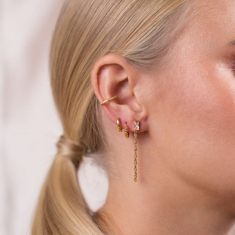 Cable Link Stud Earring, Zirconia gold Ear Cuff