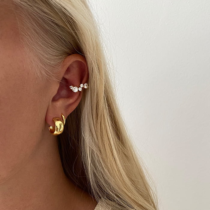 Chunky hoops made in 18k gold plated brass
