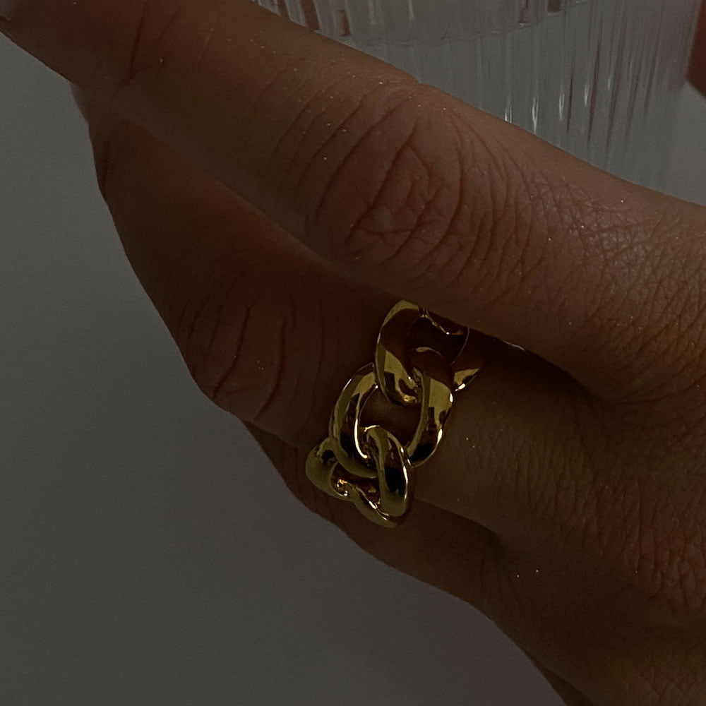 chain ring made in 18k gold plated brass