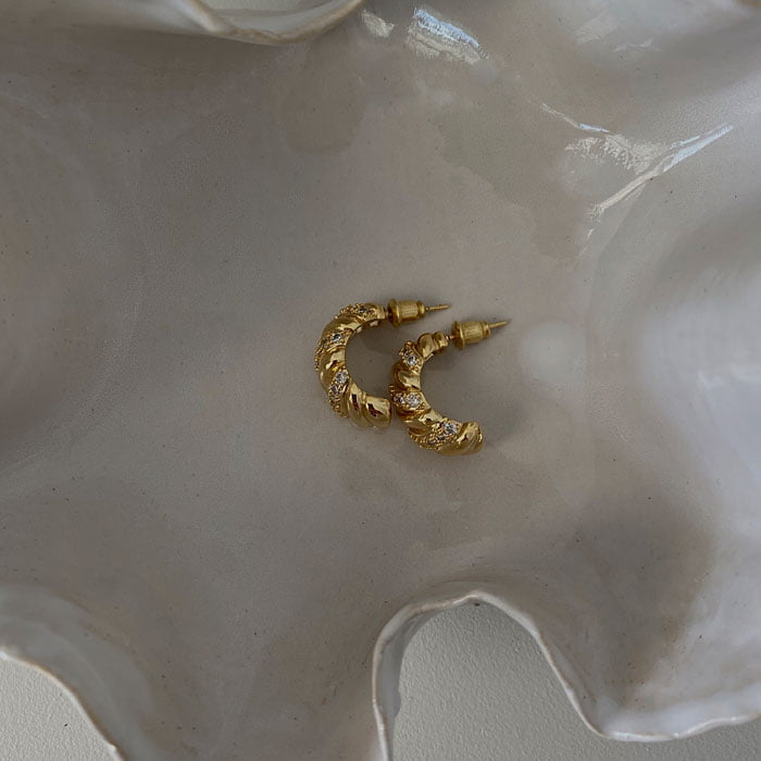 Chunky hoop with mini zirconias