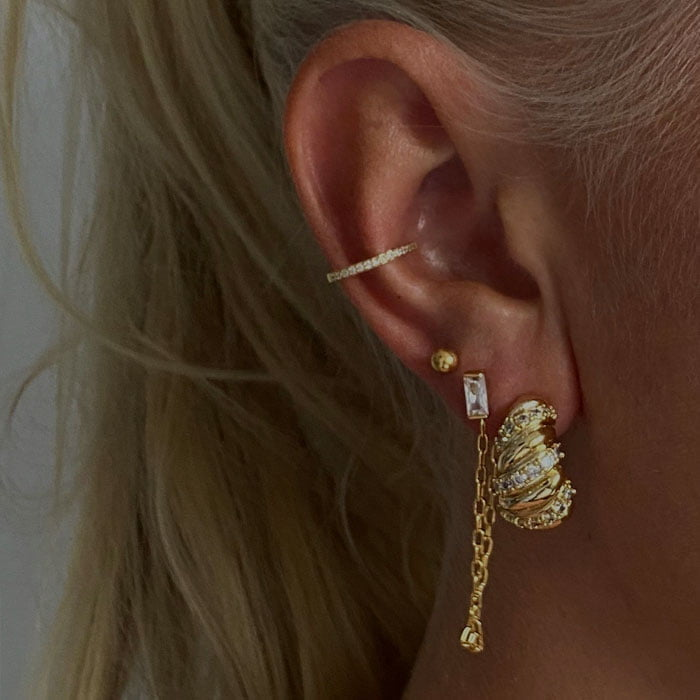 Ear stack featuring Chunky croissant zirconia hoop