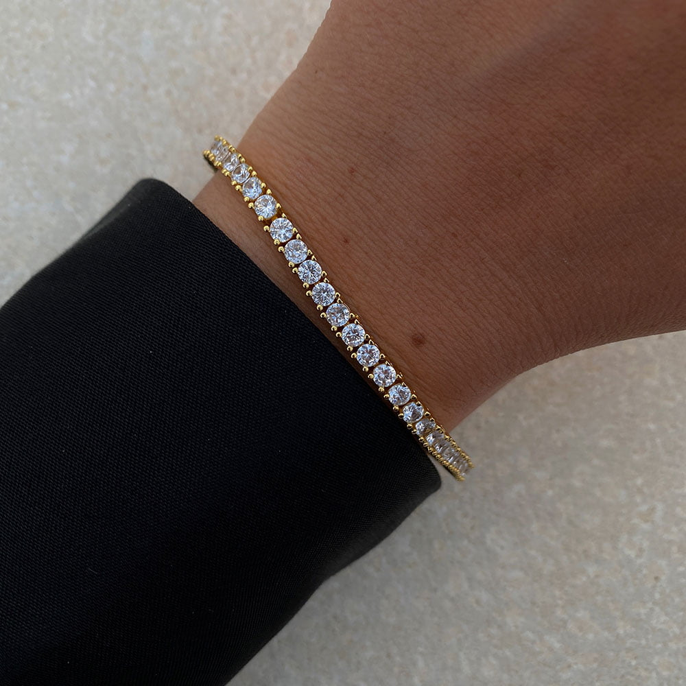 tennis bracelet made in 18k gold plated brass