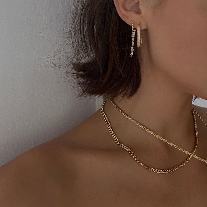 Baguette Chain Pendant and pave hook hoop