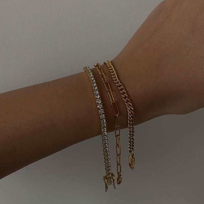 cable chain bracelet 18 k gold plated