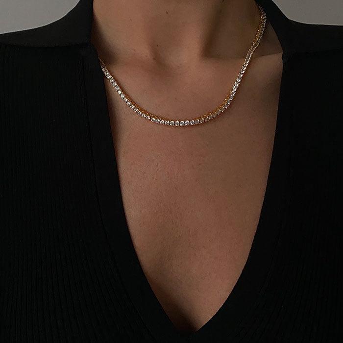 Zirconia tennis necklace