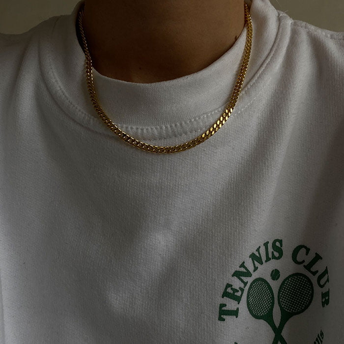 4mm curb chain necklace made of 18k gold plated brass
