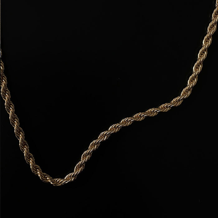rope chain necklace made in 18k gold plated brass