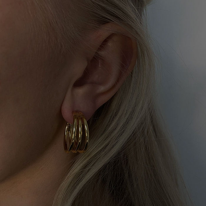 Triple Hoops 18k gold plated