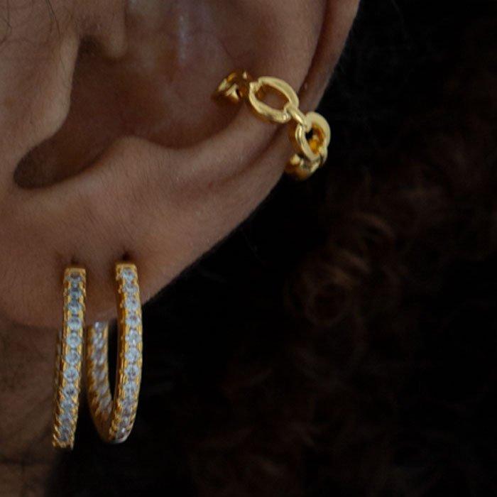 chain cuff in 18k gold plated brass