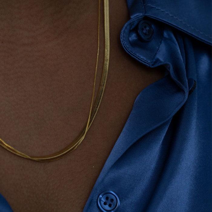 Snake chain necklace and bracelet set