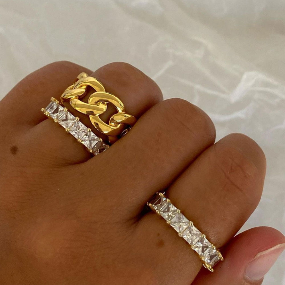 Chain ring 18k gold plated brass