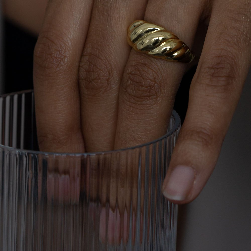 Croissant ring made in 18k gold plated brass