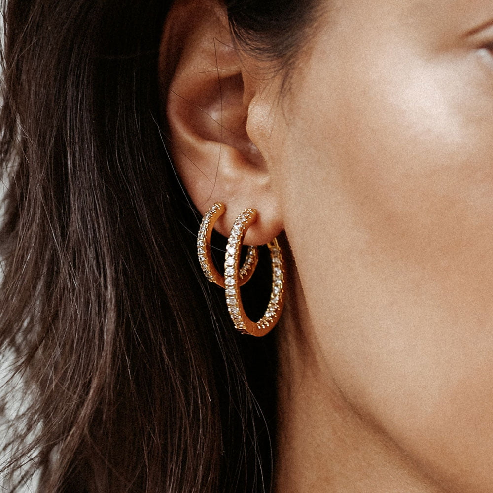 30mm zirconia hoops made of 18k gold plated brass