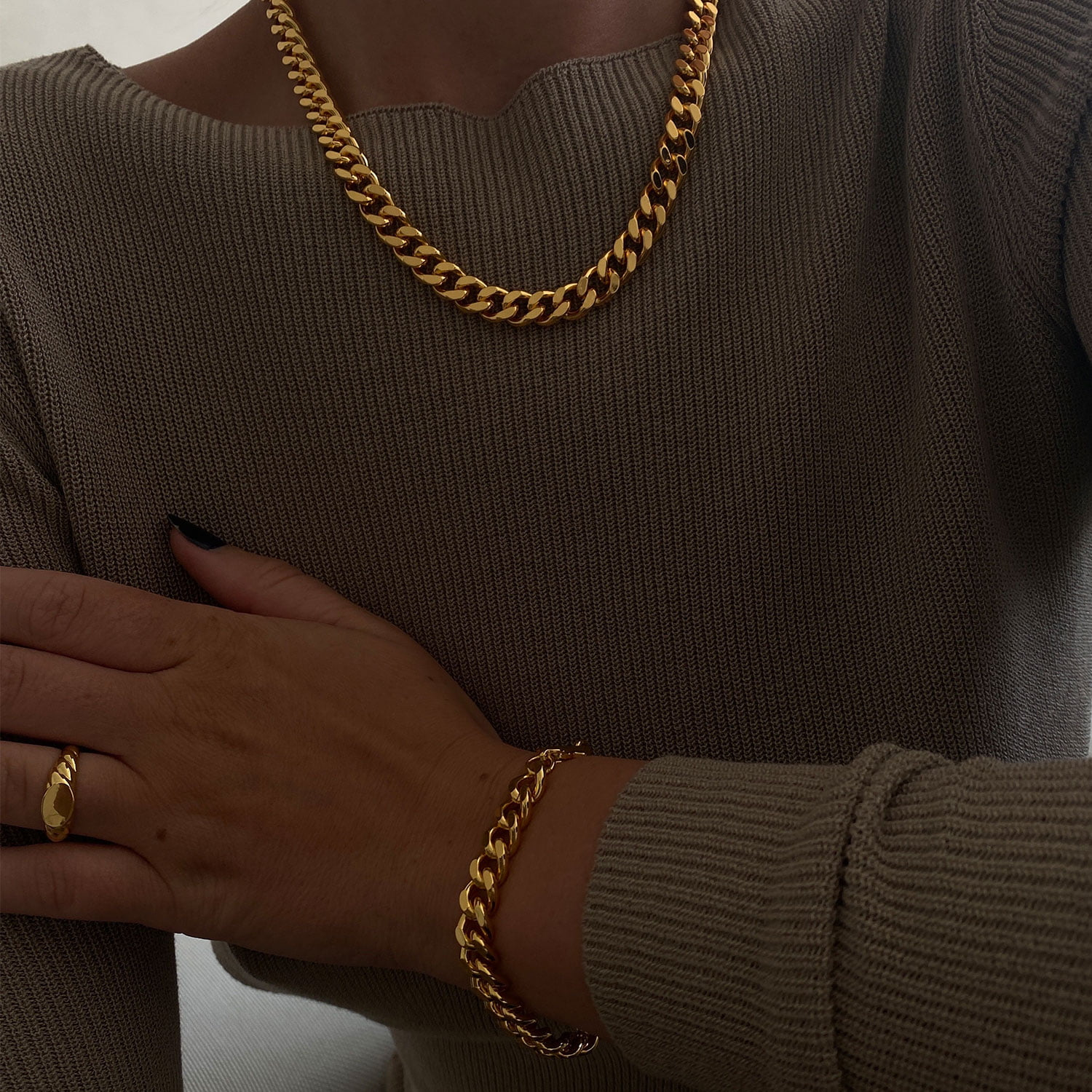 Chunky cuban set made in 18k gold plated brass