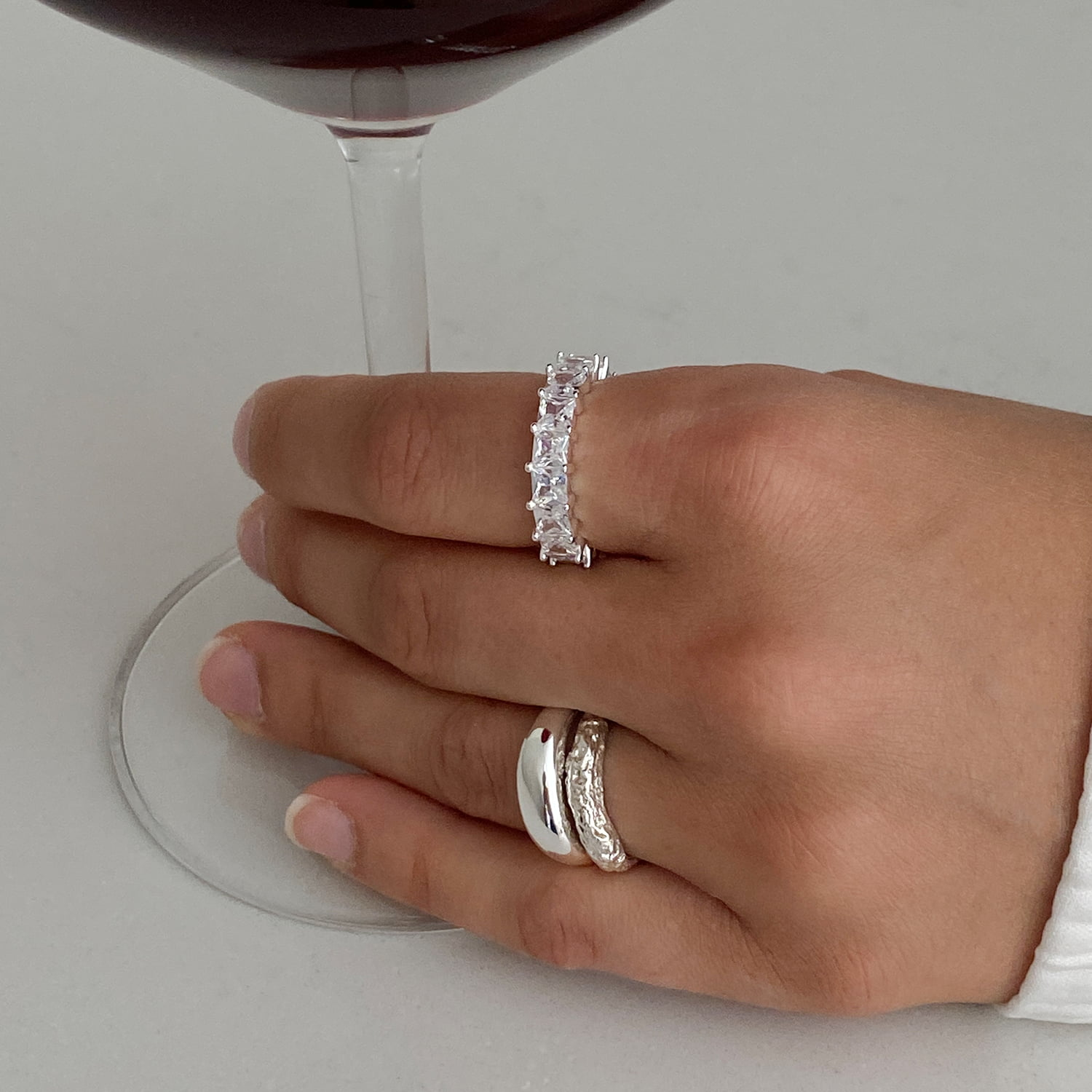 Pave ballier ring in silver