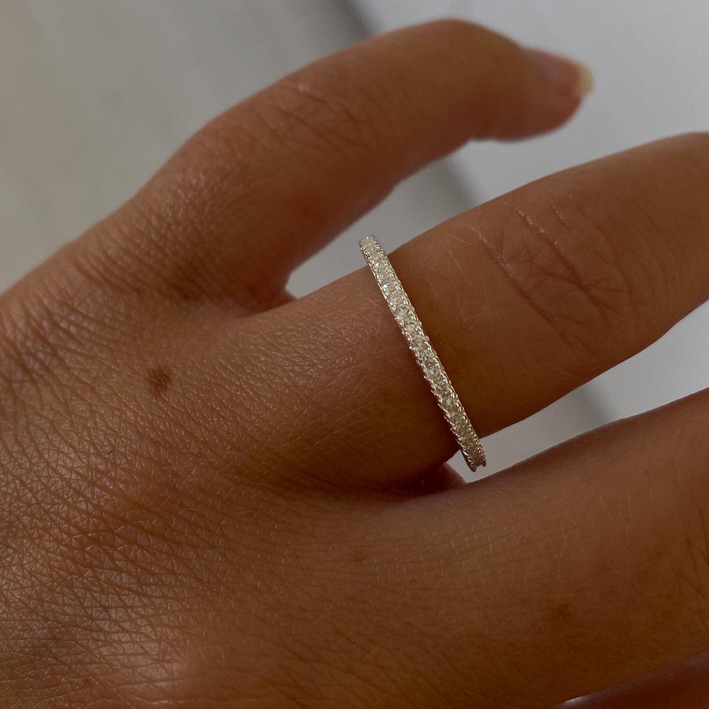 Silver Thin Zirconia Ring