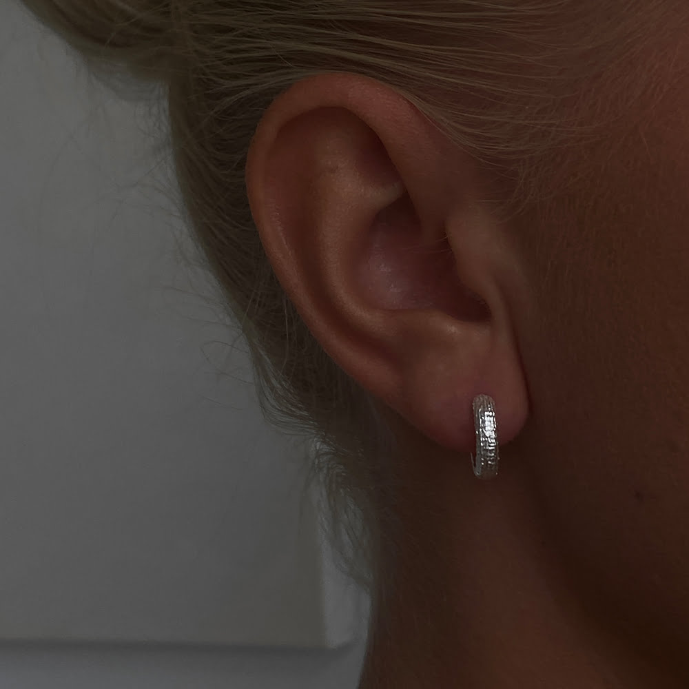 silver 10mm textured hoops