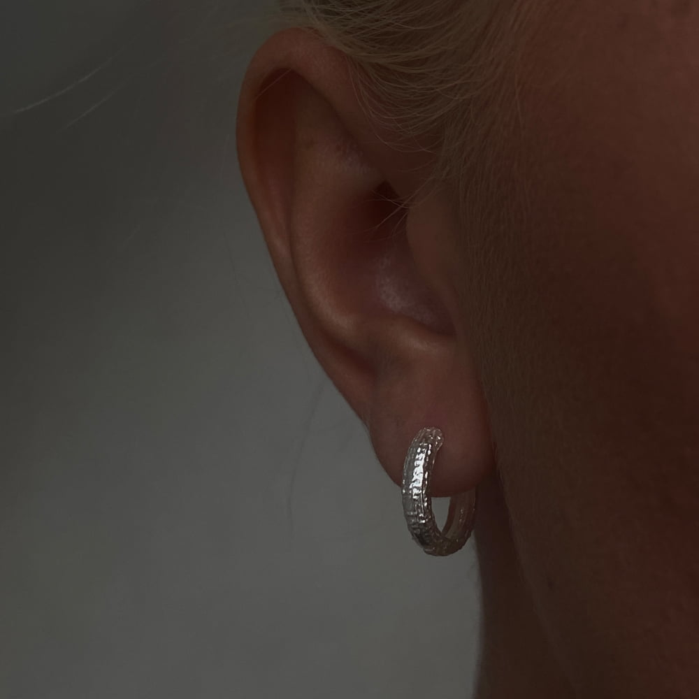 silver 15mm textured hoops
