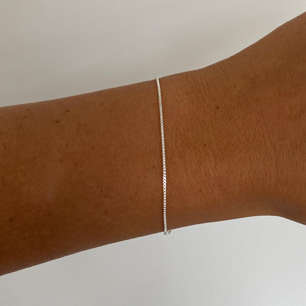 Silver box chain bracelet