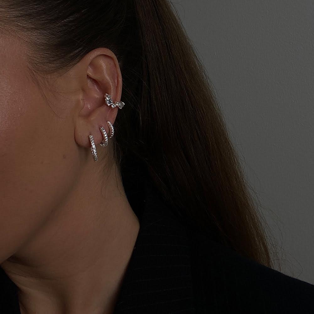 Silver Chunky Zirconia Ear Cuff